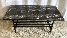 Table basse moderniste métal et marbre – années 50