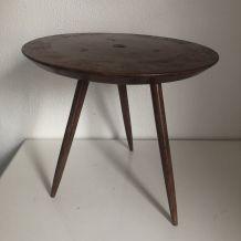 Table basse tripode guéridon ronde bois vintage 1950 - 35 cm