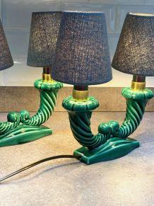 Paire de lampes en barbotine