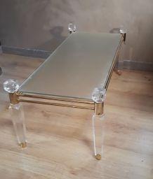 petite table basse  1970  or et verre et plexiglass 100x45x