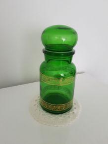 Bocal d'aphoticaire en verre vert et doré