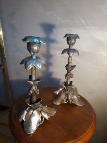 paire de bougeoir en bronze et regule 1900 art nouveau