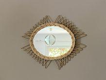 Miroir soleil losange. Rotin tressé. 1960. 50X40.
