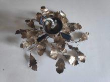 applique petites feuilles en métal doré 3 feux