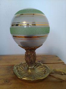 Lampe à poser vintage, pied bougeoir en bronze