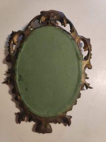 petit miroir baroque cadre doré avec crochet