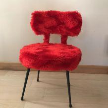 Chaise Pelfran  moumoute rouge