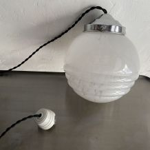 ANCIENNE LAMPE SUSPENSION EN VERRE DE CLICHY 16 cm