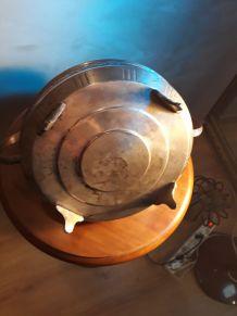 VIDE POCHE EN METAL ARGENTE  corbeille  avec sa coupole en v