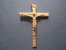Belle Croix cross religious en plaqué or torsade vintage