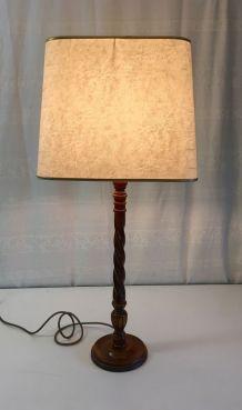 Lampe à poser en bois massif tourné – années 60