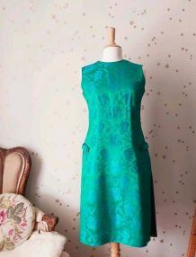 Vintage années 60 robe du soir soie satin jacquard fleurie