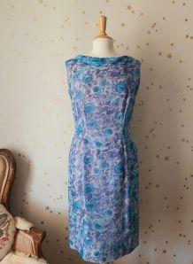 Vintage années 50 robe mousseline fleurie rose bleu blanc L