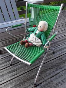 Chaise d'enfant vintage scoubidou vert et chrome