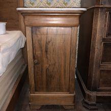 Table de chevet en bois et marbre blanc