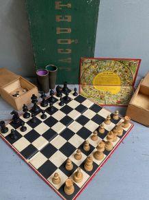 Ancien coffret jeu de jacquet, l'oie, échecs