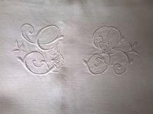 Drap ancien pour lit 2 personnes  lin et coton