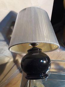 lampe ceramique noir et abat jour en files d argent  1980