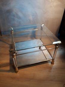 petite table basse 70s  or ,verre,miroir et  , plexiglas   t