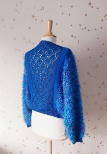 Vintage années 80 pull poilu et maille ajourée dentelle bleu