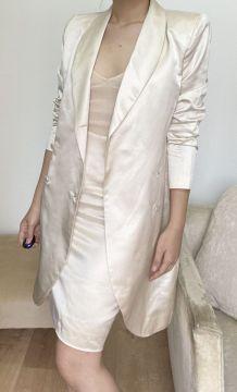 Long silk vest jacket