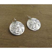 Boucles d'Oreilles Gas ss arabesques, métal argenté, strass