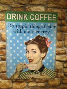 PLAQUE METAL VINTAGE COFFEE
