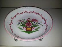 Assiette décor rose