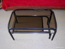 Table basse métal noir et verre
