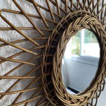 Miroir soleil rotin osier vintage 1960 - 35 cm