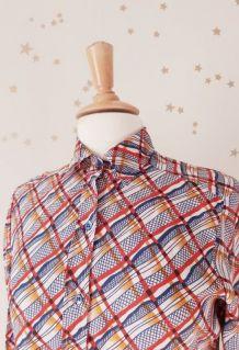chemise manches longues imprimée écossais wax