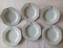 6 assiettes creuses  Porcelaine de Limoges