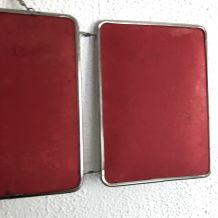 Miroir triptyque barbier framboise vintage 1960 - 23 x 56 cm