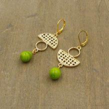 Boucles d'oreilles pendantes, métal doré, perles verre filé