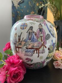 Vase Vintage  Boule Japonais  en Porcelaine