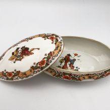 Bonbonnière vintage 1930-Ovale  Geishas Porcelaine
