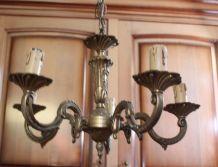 Lustre chandelier 5 branches en bronze