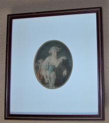 Paire d'anciens portraits médaillons  (JB Greuze)