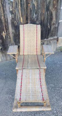 Chaise longue en rotin - Années 50