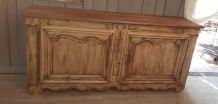 Ancien buffet 2 portes en noyer blanchi,  XIX ème
