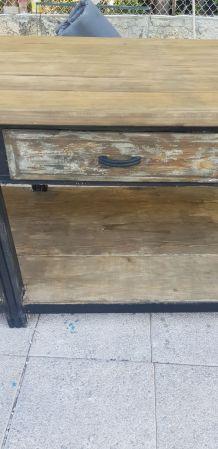 Longue table de drapier , patinée,  années 50