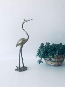 Héron vintage en laiton, oiseau en laiton