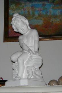 Ancienne statuette d'art signé CP-JP-MD