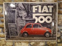 PLAQUE DECO EN RELIEF FIAT 500
