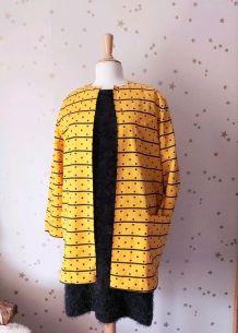 80s veste rayure pois jaune noir