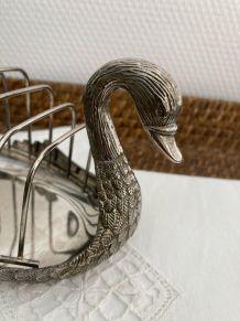 Porte-toasts cygne métal argenté