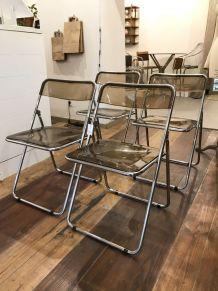 Lot 4 chaises plexiglas 70s