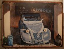 Plaque métal Citroën 2cv grange