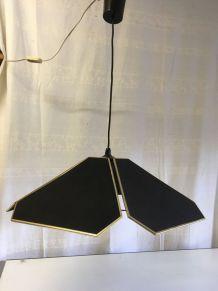 Suspension forme fleur en tissus noir et doré – années 70