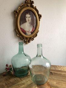 Paire de Dame Jeanne verte et transparente